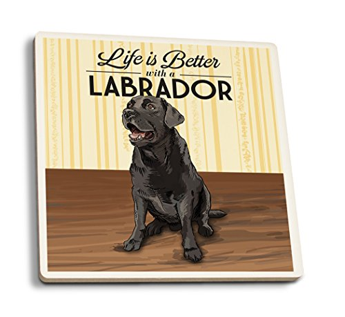 Lantern Press Black Lab - Life is Better (Set of 4 Ceramic Coasters - Cork-Backed, Absorbent)