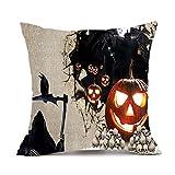 Litetao Happy Halloween Square Decorative Throw Pillow Cases Linen Sofa Cushion Cover Home Decor (A)