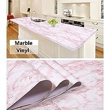 "[HOHO] Pink Self Adhesive Marble Contact Paper Film Vinyl Decor Wallpaper Sheets (48""x12"")"