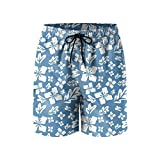 Tropical Summer Flowers Mens Quick Dry Breathable Beach Shorts with Drawstring
