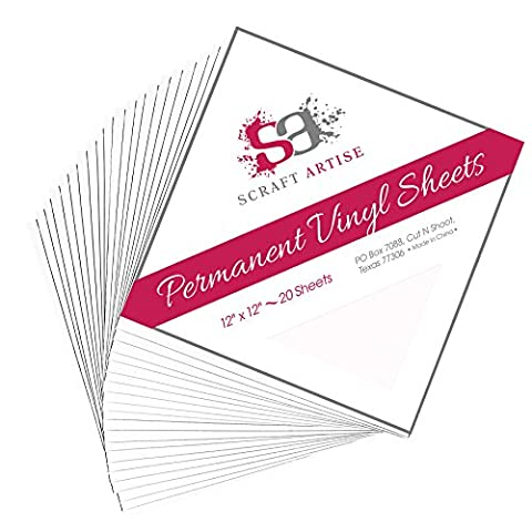 12x12 Permanent Vinyl, 20 Pack White Outdoor Adhesive Backed Craft Sheets in Matte Finish for Silhouette and Cricut to Make Monograms Stickers Decals and Signs by Scraft (Scan N Cut Sticker)