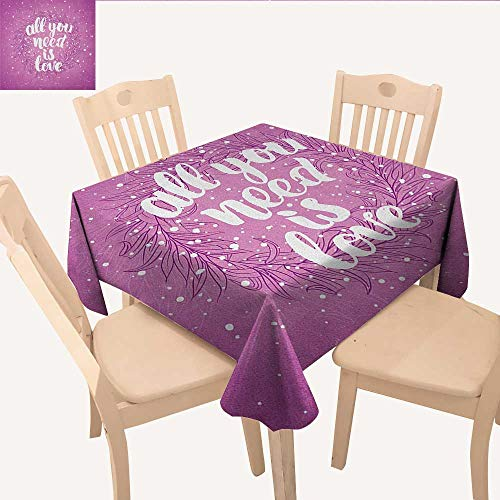 longbuyer Love Wrinkle Free Tablecloths Valentines Day Concept Abstract Floral Wreath Brush Font Paint Splashes Grunge Look BBQ Tablecloth Fuchsia White W 60