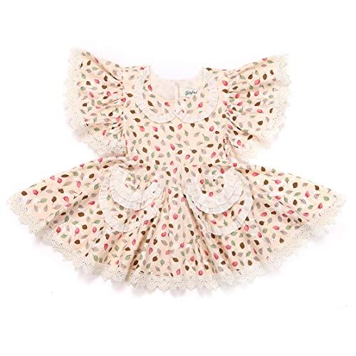 Flofallzique Baby Girls Dress Vintage Floral Dress for Girls Cotton Dress for Toddler(4) ()