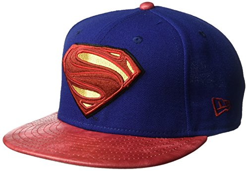New Era Cap Men's Justice League Superman 9FIFTY Snapback Cap, Dark Royal, One Size - New Era Leather Cap