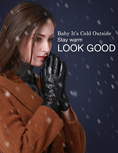 YISEVEN Womens Winter Touchscreen Genuine Lambskin Leather Gloves Fleece Lined