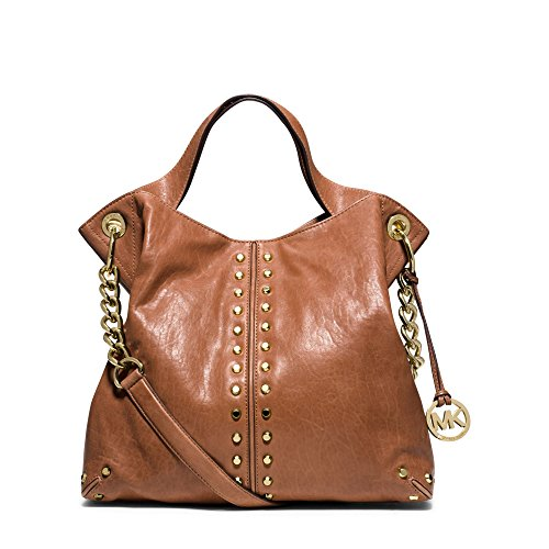 MICHAEL MICHAEL KORS Astor Leather Shoulder Handbag (Walnut) (Michael Michael Kors Astor Large Satchel)
