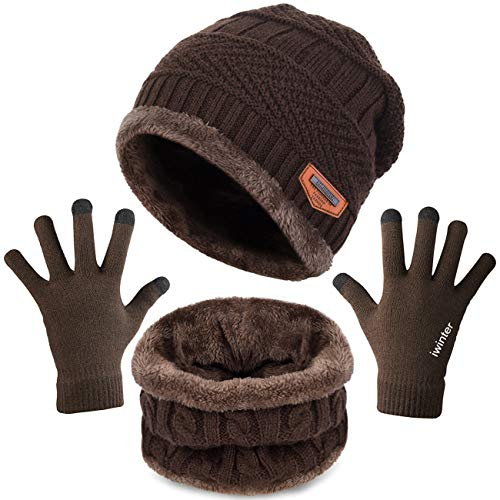 (Maylisacc Winter Beanie Hat-Scarf-and-Glove-Set for Women & Men Touchscreen Brown)