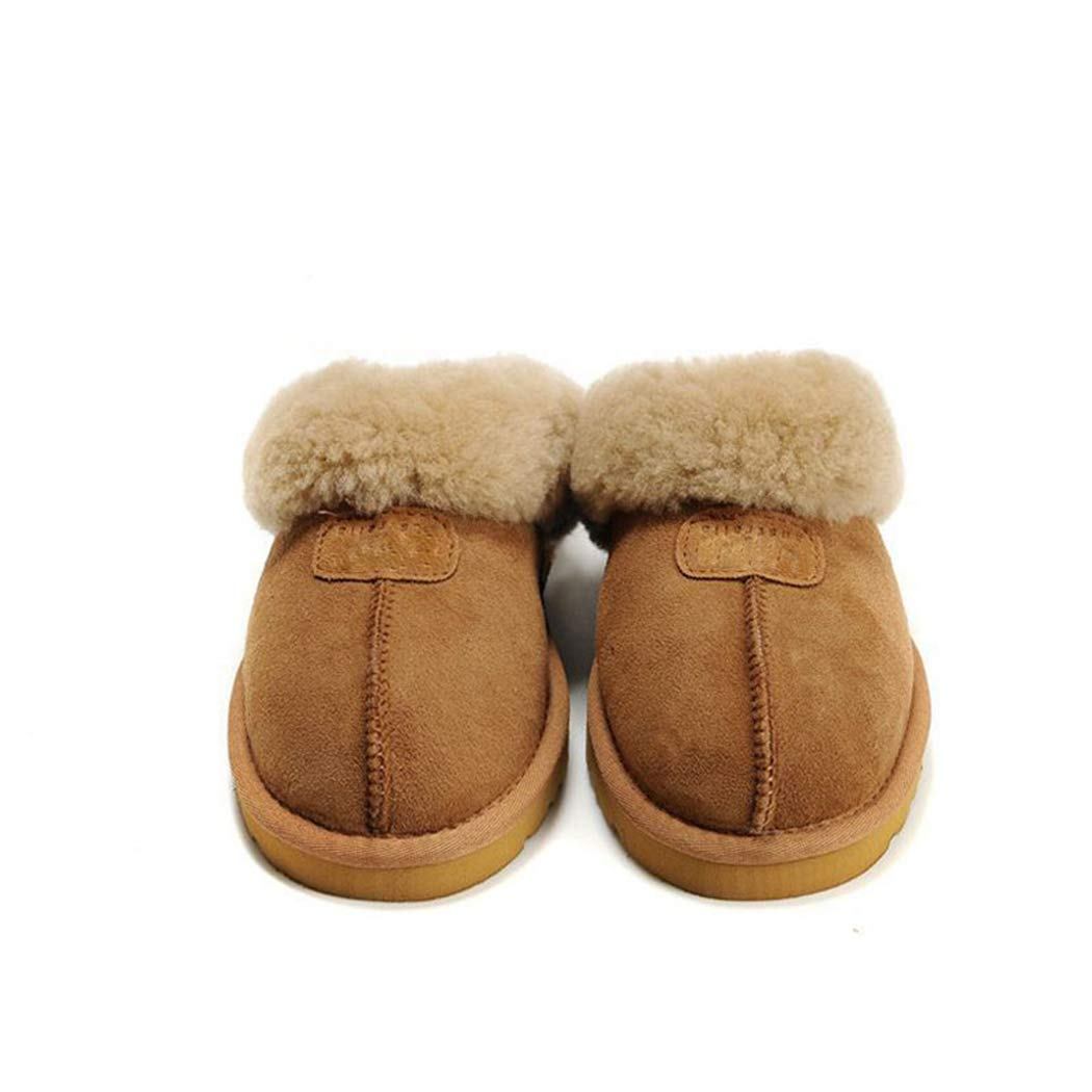 Nafanio Home Winter Slippers with Leather Warm Arch Support Memory Foam Women Men Fur House Indoor Bathroom Bedroom Flats Shoes