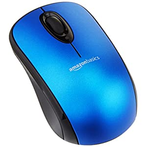 Amazon Basics Wireless Computer Mouse with USB Nano Receiver - Blue