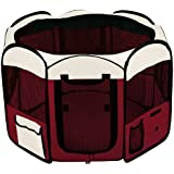 Pet Playpen Maroon Exercise Kennel Soft Tent Puppy Dog Crate Small Medium Large