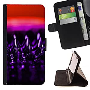 DEVIL CASE - FOR Samsung Galaxy S6 - Art Design Structure Purple Bling Red - Style PU Leather Case Wallet Flip Stand Flap Closure Cover