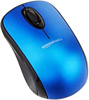 AmazonBasics Wireless Computer Mouse with USB Nano Receiver - Blue, 5-Pack
