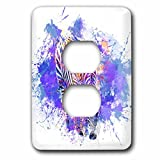 3dRose Andrea Haase Animals Illustration - Modern cool colorful zebra artwork with paint splatter - Light Switch Covers - 2 plug outlet cover (lsp_266472_6)