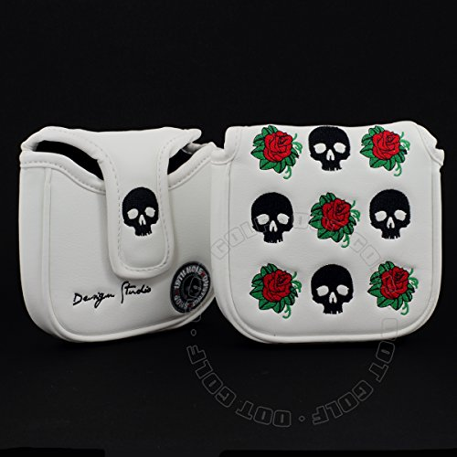 19th Hole Custom Shop Skull and Rose High-MOI Mallet Putter Headcover, Heel Shaft, White, Golf Head Cover