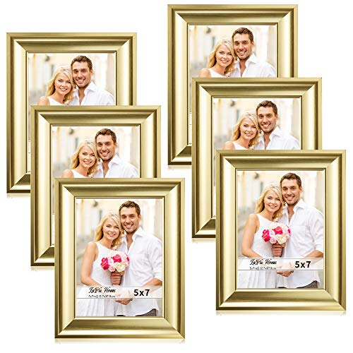 LaVie Home 5x7 Picture Frames(6 Pack,Gold) Photo Frame Set with High Definition Glass for Wall Mount & Table Top Display