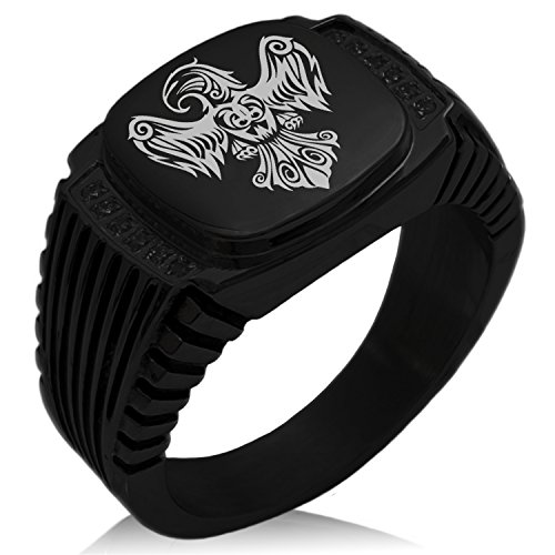 (Tioneer Black IP Plated Stainless Steel Aztec Power Strength Courage Rune Engraved Black Cubic Zirconia Ribbed Needle Stripe Pattern Biker Style Polished Ring, Size 11)