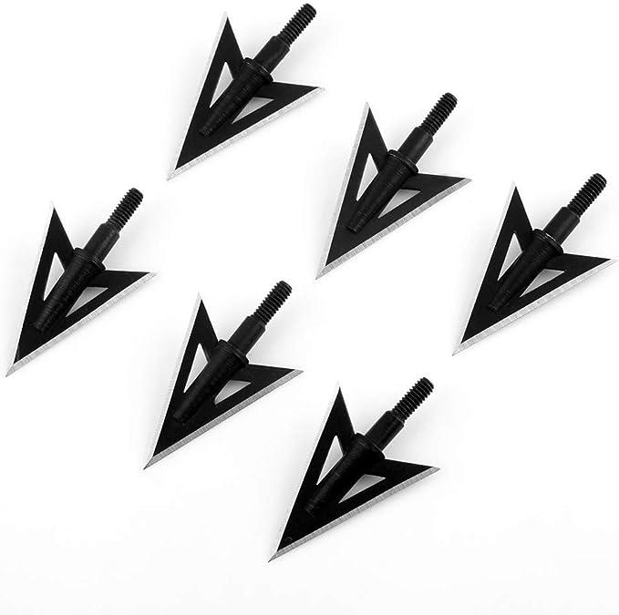 6//12Stück Schwarz 125Grain Pfeilspitzen Jagdspitzen Bogenschießen Broadheads