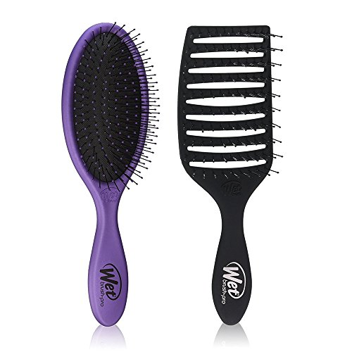Wet Brush Pro Detangle Hair Brush, Metallic Purple + Epic Qu