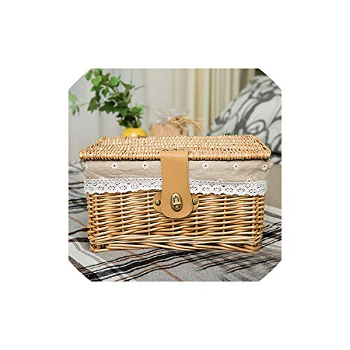 fantasticlife06 Creative Bamboo Woven Storage Basket With Lid With Lock Storage Clothes Sundries Toy Storage Box Organizer Wicker Material,Beige Flower,Small ()
