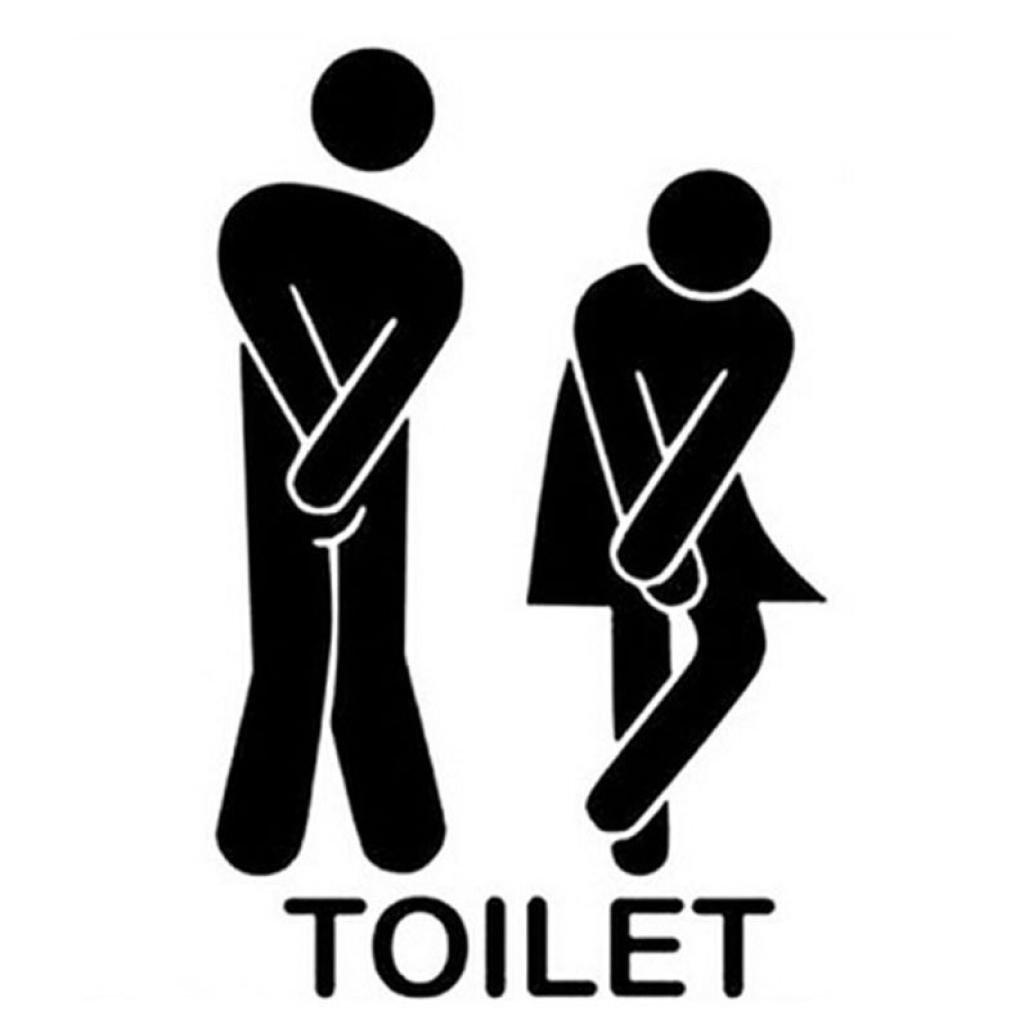 Woaills 1Set WC Sticker, Removable Cute Man Woman Washroom Toilet DIY Decor (A)