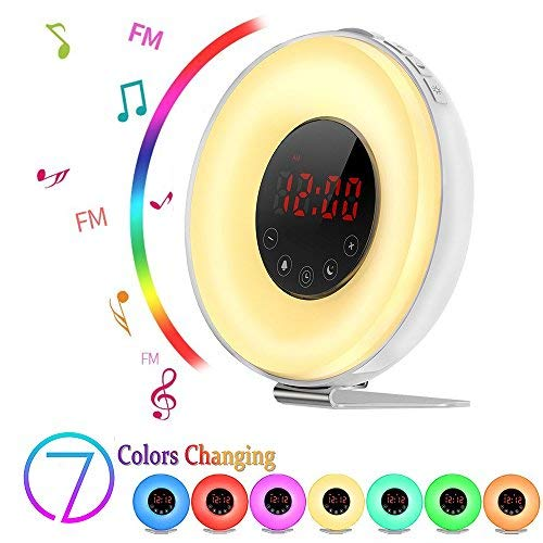Sunrise Alarm Clock, Boscheng Wake Up Light Sunrise Simulator Daylight Alarm Clock for Heavy Sleepers, with 6 Nature Sounds, FM Radio, Brightness Adjustable, Touch Control and Snooze Function ()