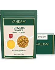 VAHDAM, Turmeric + Ginger POWERFUL SUPERFOOD Blend (100 Cups) Herbal Tea   POWERFUL Wellness & Healing Properties of TURMERIC & GINGER   IMMUNE SUPPORT   100% NATURAL   Brew as Hot or Iced Tea   7oz