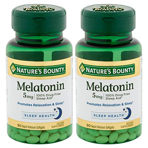 Amazon.com: Natures Bounty Melatonin 5 mg Dietary Supplement Softgels, Twin Pack 60 ea: Health & Personal Care