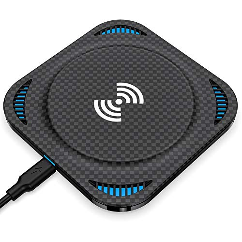 Fast Wireless Charger, Amuoc 10W Qi-Certified Wireless Charging Pad, Compatible iPhone Xs Max/XR/XS/X/8/8 Plus, 10W Fast-Charging Galaxy S10/S9/S9+/S8/Note 9/Note 8 (No AC Adapter) - 2019 New Version