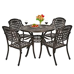 Garden and Outdoor OKIDA 5 Piece Outdoor Cast Aluminum Patio Dining Set, Conversation Furniture Set for Patio Deck Garden with 4 Chairs and… patio dining sets