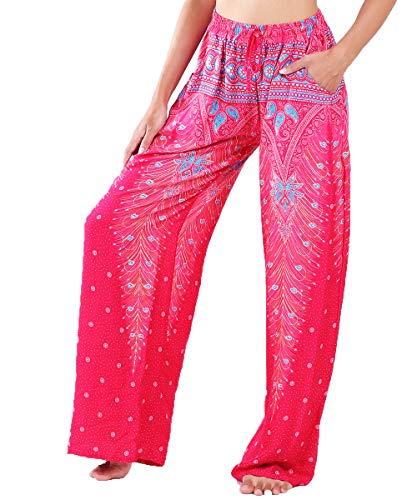 Lofbaz Women's Wide Leg Harem Pants Yoga Lounge Hippie Palazzo Pajamas Trousers Juniors Girls Printed Spring Travel Swimsuit Cover Up Beachwear Slacks - Peacock 1 Pink and Light Blue - M - Wear Wide Leg Pants