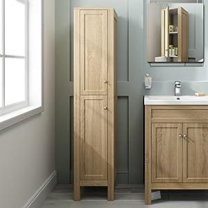 1600mm Tall Oak Floor Standing Bathroom Furniture Cabinet