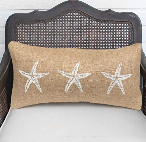 King65irginia Starfish Pillowcase Burlap Pillowcase Coastal Pillowcase Lumbar Pillowcase Beach Cottage Nautical Decor Throw Pillowcase ()