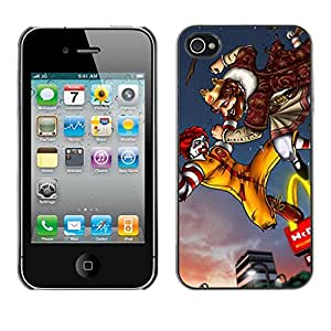 Exotic-Star ( King Fast Food Fighting Golden Arc ) Fundas Cover Cubre Hard Case Cover para Apple iPhone 4 / iPhone 4S / 4S