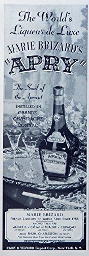 Marie Brizard French Liqueurs, Vintage Print Ad. 30's B&W Illustration (Apry) Original 1939 Esquire Magazine Art ()