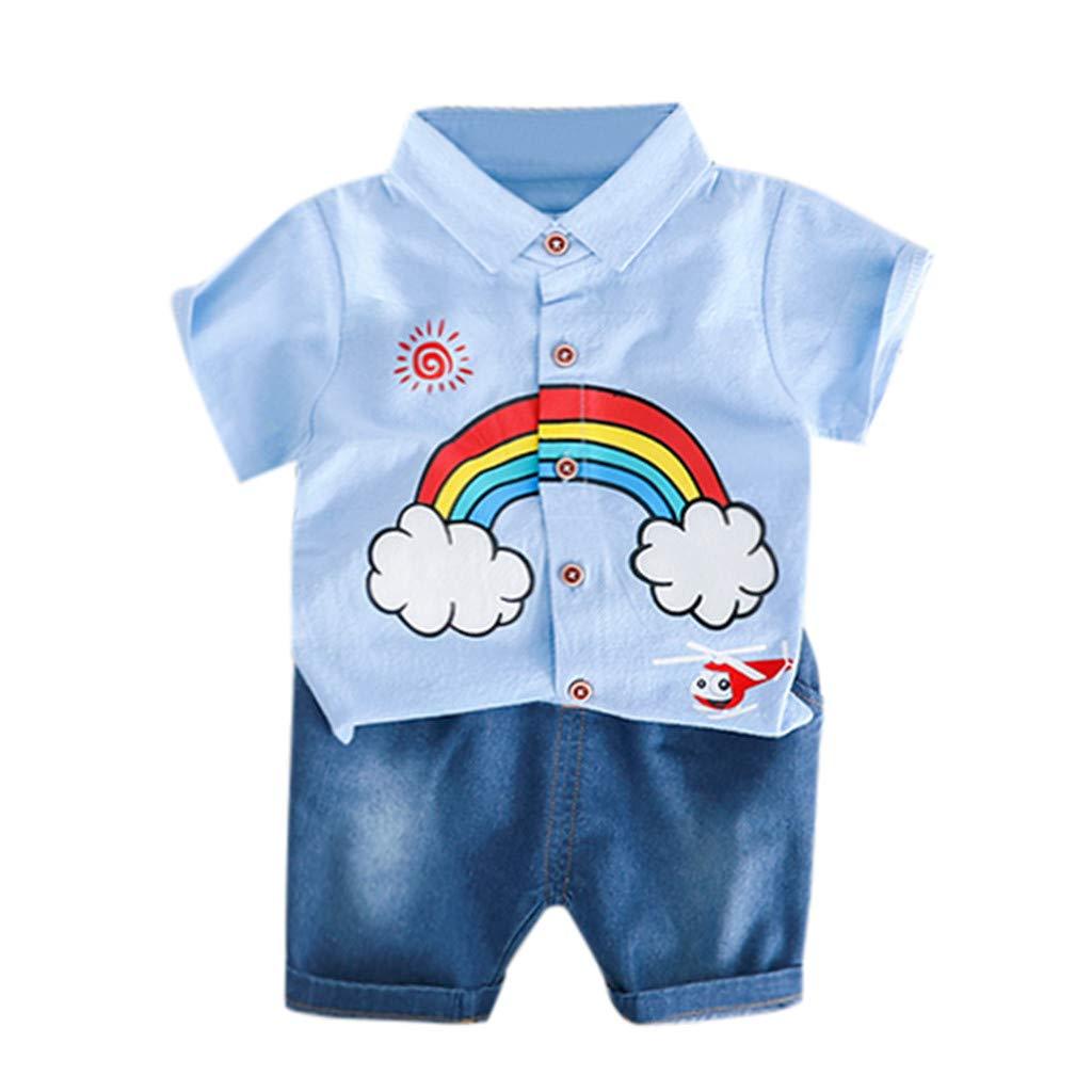 SIN vimklo Boys Short Sleeve Rainbow Print Top Solid Color Shorts