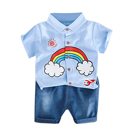 c47da251 Amazon.com: Fabal Toddler Baby Kids Boys Rainbow Tops T-Shirt Solid ...