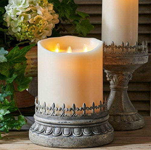 Large Liown Flameless Candle: Tri-flame, 3 Wick, Unscented Moving Flame Candle with Timer (10'' Ivory) by Liown