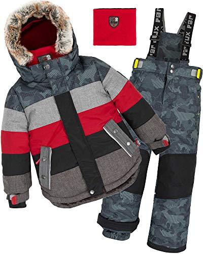 Deux par Deux Boys' 2-Piece Snowsuit Meteo Alert Red, Sizes 4-14