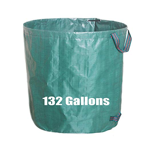 132 Gallons Garden Waste Bag/Extra Large Heavy Duty Gardening Containers/Reusable Leaf Bags (1-Pack Green)