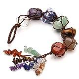 CrystalTears 7 Chakra Crystal Hanging Ornament,Reiki Healing Crystal Tumbled Gemstone Window Ornament,Feng Shui Ornament,Yoga Meditation~Bohemian Decoraction