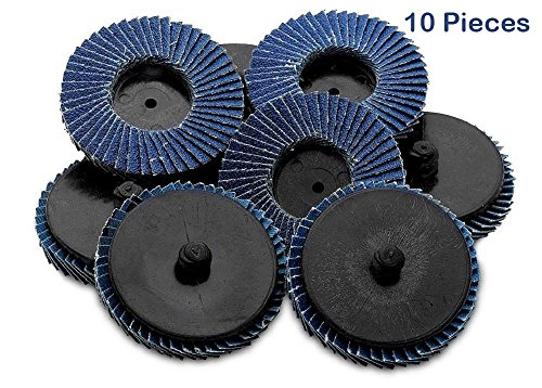 Flap Discs 24 Grit Quick Change Grinding Wheels 10 Pieces 2'' - For Rotary Tools, Die Grinder, Drill, Blending And Finishing Applications By Katzco