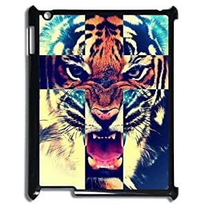 Ipad 4 Case,Tiger Roar Cross Hipster Quote Jesus Christ Cross Combo Hign Definition Wonderful Design Cover With Hign Quality Hard Plastic Protection Case