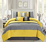 Modern 7 Piece Oversize Yellow / Grey / Off-White Pin Tuck Stripe Comforter Set King Size Bedding with Accent Pillows 104