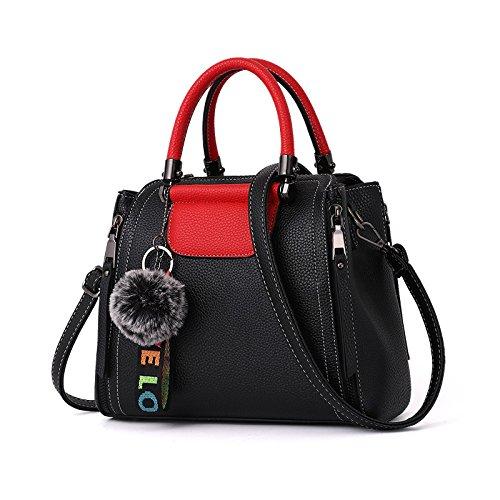 Mujer Bolsa De Hombro Moda Vintage Bolso Coreano PU Viajes Bolso Black