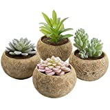 MyGift Miniature Assorted Artificial Succulent Plants in Cement Grey Pots, Set of 4