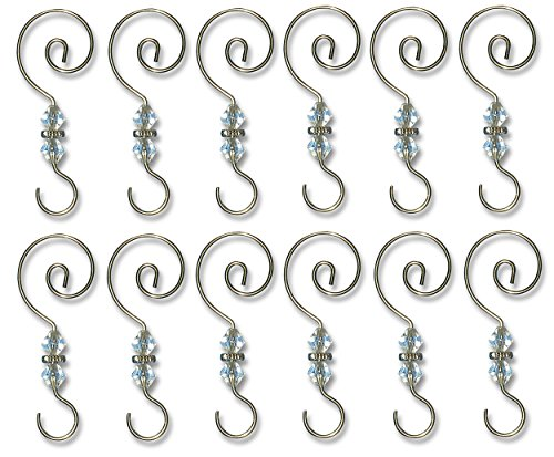 BANBERRY DESIGNS Christmas Ornament Hooks - 12 Pack - Decorative Christmas Tree Ornament Hangers -