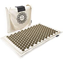 Eco Acupressure Massage Mat Natural Linen Cotton   Acupuncture Mats for Neck, Back, Reflexology, Sciatica, Trigger Point and Massage Therapy, Manual Massage   Stress Relief Pad with Free Carry Bag