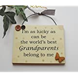 Im as lucky as can be the worlds best Grandparents belong to me wooden gift plaque by Craftworks