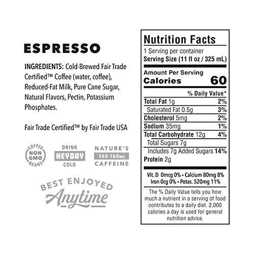 HEYDAY | Cold-Brew Coffee | Espresso | Fair Trade Certified | Non-GMO | 11oz (12 Count) by HEYDAY (Image #2)