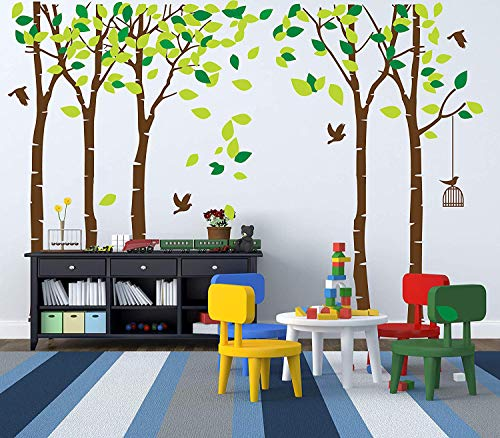 Luckkyy Large Five Family Trees With Birds And Birdcage Tree Wall Decal Tree Wall Sticker Kids Room Nursery Bedroom Living Room Decoration 103 9x70 9 Brown Kitchen Dining